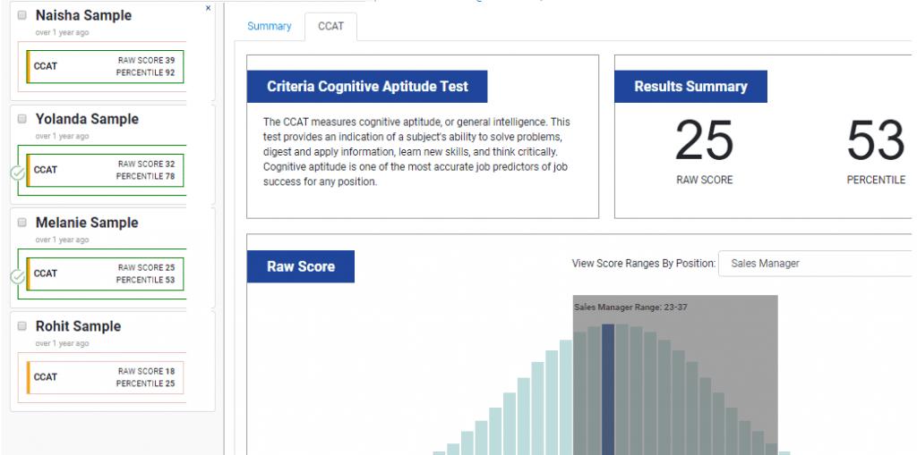 ccat test scores - percentiles